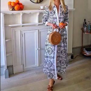 014375a538 Zara Dresses - ZARA LONG TUNIC SHIRT DRESS CONTRASTING EMBROIDERY